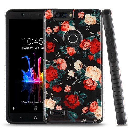 MyBat Fusion Protector Cover for Zte Z982 (Blade Z Max) - Red and White Roses Gel / Black