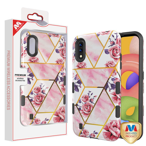 MyBat TUFF Subs Hybrid Case for Samsung Galaxy A01 - Roses Marble / Black