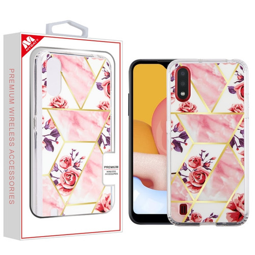 MyBat Fusion Protector Cover for Samsung Galaxy A01 - Electroplated Roses Marbling