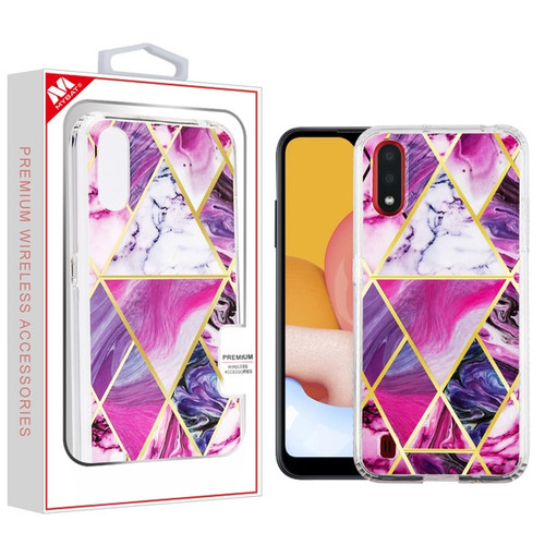 MyBat Fusion Protector Cover for Samsung Galaxy A01 - Electroplated Purple Marbling