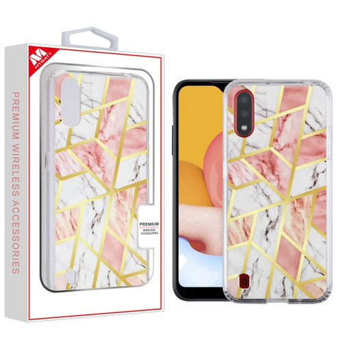 MyBat Fusion Protector Cover for Samsung Galaxy A01 - Electroplated Pink Marbling