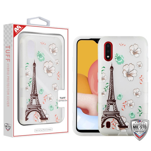MyBat TUFF Hybrid Protector Cover [Military-Grade Certified] for Samsung Galaxy A01 - Semi Transparent White Frosted Eiffel Tower in the Season of Blooming / Transparent White