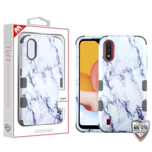 MyBat TUFF Hybrid Protector Cover [Military-Grade Certified] for Samsung Galaxy A01 - White Marbling / Iron Gray