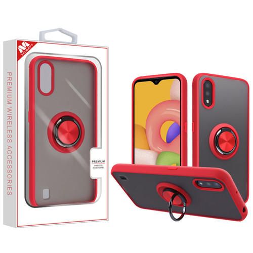 MyBat Frost Hybrid Protector Cover (with Ring Stand) for Samsung Galaxy A01 - Semi Transparent Smoke Frosted / Rubberized Red