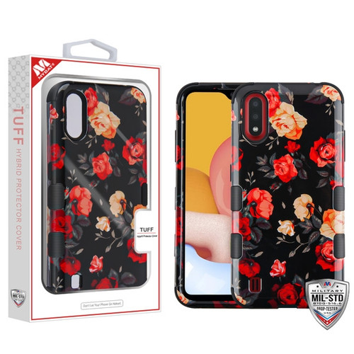 MyBat TUFF Hybrid Protector Cover [Military-Grade Certified] for Samsung Galaxy A01 - Red and White Roses / Black