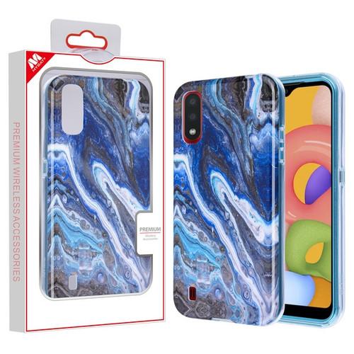 MyBat Frame Hybrid Case for Samsung Galaxy A01 - Blue Stone Marbling Blue