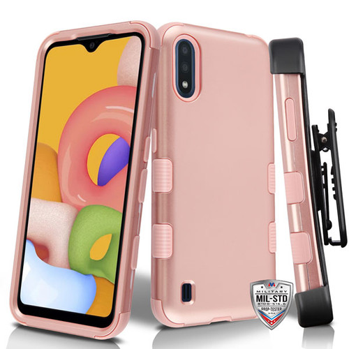 MyBat TUFF Hybrid Protector Case [Military-Grade Certified] for Samsung Galaxy A01 - Rose Gold / Rose Gold