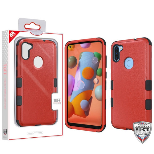 MyBat TUFF Hybrid Protector Cover [Military-Grade Certified] for Samsung Galaxy A11 - Natural Red / Black