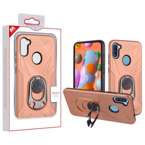 MyBat Hybrid Protector Cover (with Ring Holder Kickstand Bottle) for Samsung Galaxy A11 - Rose Gold / Black