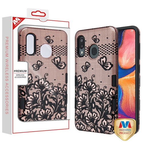 MyBat TUFF Subs Hybrid Case for Samsung Galaxy A20 - Black Lace Flowers (2D Rose Gold) / Black