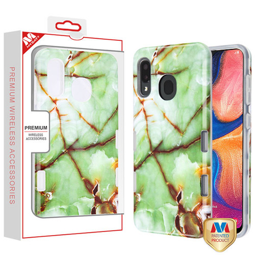 MyBat TUFF Subs Hybrid Case for Samsung Galaxy A20 - Onice Verde Persiano Marble / Transparent Clear