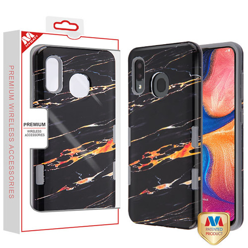 MyBat TUFF Subs Hybrid Case for Samsung Galaxy A20 - Supreme Black Gold Flower Marble / Iron Gray