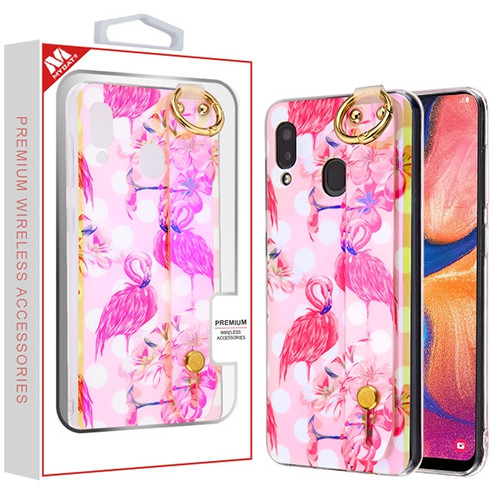 MyBat Dreamy Hybrid Case (With Wristband Stand) for Samsung Galaxy A20 - Pink Flamingos