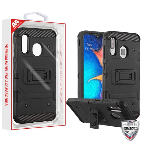 MyBat Storm Tank Hybrid Protector Cover [Military-Grade Certified] for Samsung Galaxy A20 - Black / Black