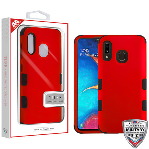 MyBat TUFF Hybrid Protector Cover [Military-Grade Certified] for Samsung Galaxy A20 - Titanium Red / Black