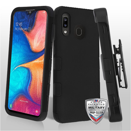 MyBat TUFF Hybrid Protector Case [Military-Grade Certified](with Black Horizontal Holster) for Samsung Galaxy A20 - Rubberized Black / Black