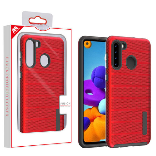 MyBat Fusion Protector Cover for Samsung Galaxy A21 - Red Dots Textured / Black