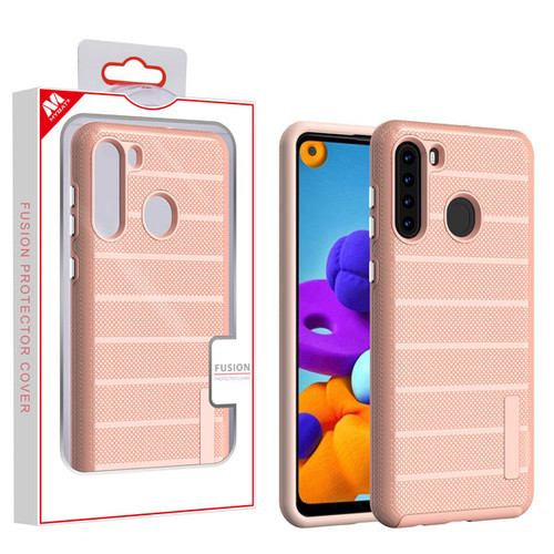 MyBat Fusion Protector Cover for Samsung Galaxy A21 - Rose Gold Dots Textured / Rose Gold