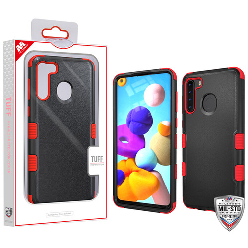 MyBat TUFF Hybrid Protector Cover [Military-Grade Certified] for Samsung Galaxy A21 - Natural Black / Red
