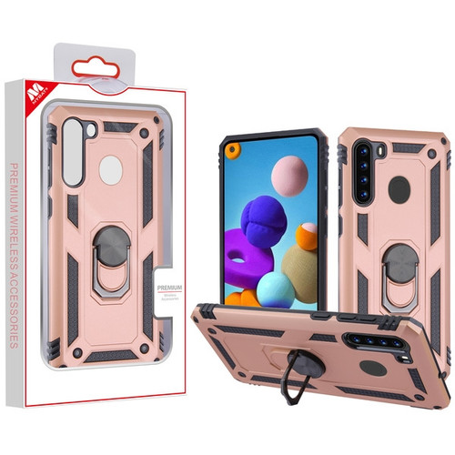 MyBat Anti-Drop Hybrid Protector Cover (with Ring Stand) for Samsung Galaxy A21 - Rose Gold / Black