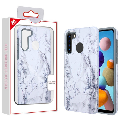 MyBat Fuse Hybrid Protector Cover for Samsung Galaxy A21 - White Marbling / Iron Gray