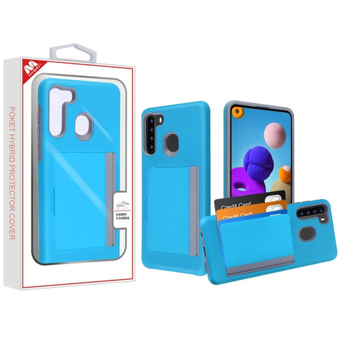 MyBat Poket Hybrid Protector Cover (with Back Film) for Samsung Galaxy A21 - Blue / Gray