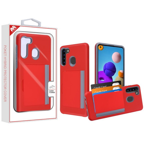 MyBat Poket Hybrid Protector Cover (with Back Film) for Samsung Galaxy A21 - Red / Gray