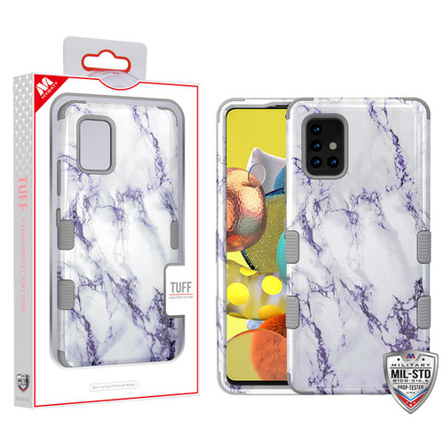 MyBat TUFF Hybrid Protector Cover [Military-Grade Certified] for Samsung Galaxy A51 5G - White Marbling / Iron Gray