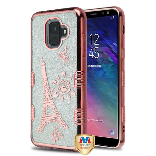 MyBat Full Glitter TUFF Hybrid Protector Cover for Samsung Galaxy A6 (2018) - Electroplating Rose Gold Eiffel Tower (Transparent Clear)
