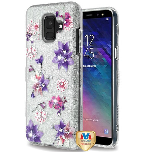 MyBat Full Glitter TUFF Hybrid Protector Cover for Samsung Galaxy A6 (2018) - Purple Stargazers Diamante