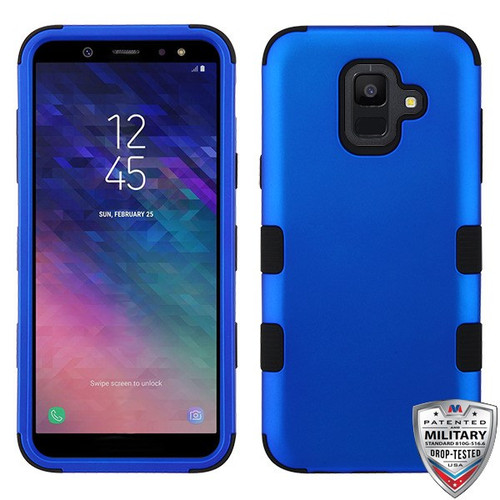 MyBat TUFF Hybrid Protector Cover [Military-Grade Certified] for Samsung Galaxy A6 (2018) - Titanium Dark Blue / Black