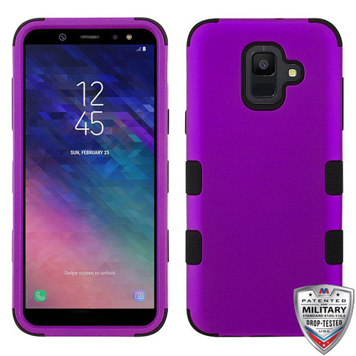 MyBat TUFF Hybrid Protector Cover [Military-Grade Certified] for Samsung Galaxy A6 (2018) - Rubberized Grape / Black