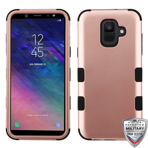 MyBat TUFF Hybrid Protector Cover [Military-Grade Certified] for Samsung Galaxy A6 (2018) - Rose Gold / Black