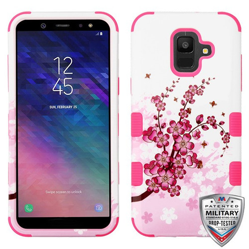MyBat TUFF Hybrid Protector Cover [Military-Grade Certified] for Samsung Galaxy A6 (2018) - Spring Flowers / Electric Pink