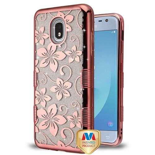 MyBat Full Glitter TUFF Hybrid Protector Cover for Samsung J337 (Galaxy J3 (2018)) - Electroplating Rose Gold Hibiscus Flower (Transparent Clear)