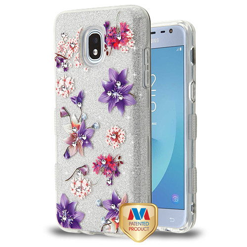 MyBat Full Glitter TUFF Hybrid Protector Cover for Samsung J337 (Galaxy J3 (2018)) - Purple Stargazers Diamante