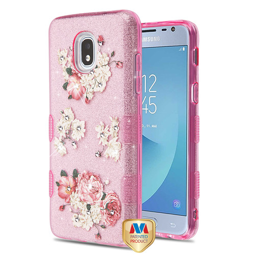 MyBat Full Glitter TUFF Hybrid Protector Cover for Samsung J337 (Galaxy J3 (2018)) - European Peony (Pink) Diamante