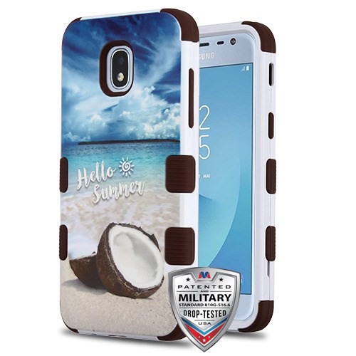 MyBat TUFF Hybrid Protector Cover [Military-Grade Certified] for Samsung J337 (Galaxy J3 (2018)) - Coco Beach / Burgundy
