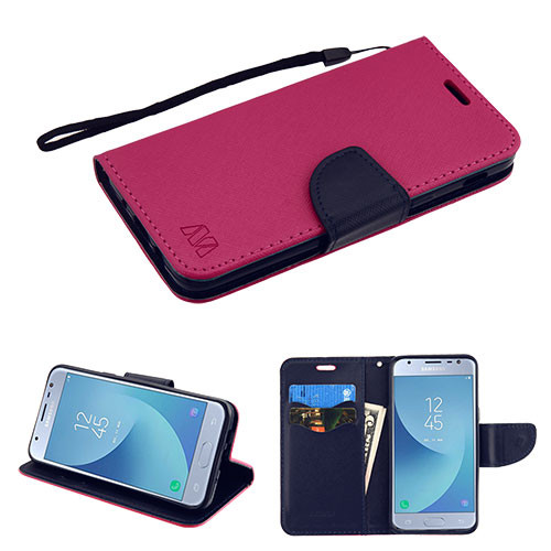 MyBat Liner MyJacket Wallet Crossgrain Series for Samsung J337 (Galaxy J3 (2018)) - Hot Pink Pattern / Dark Blue