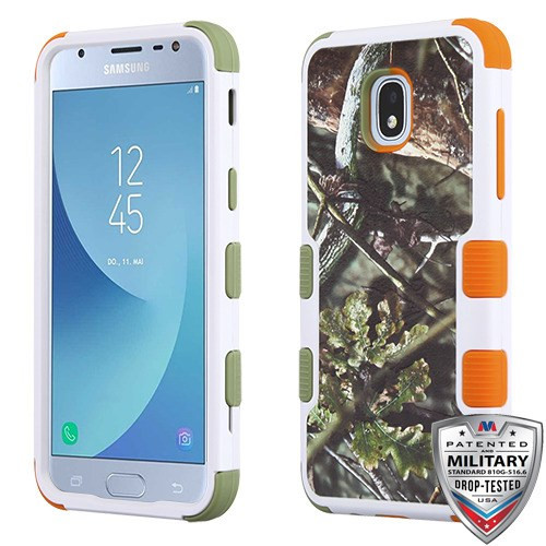 MyBat TUFF Hybrid Protector Cover [Military-Grade Certified] for Samsung J337 (Galaxy J3 (2018)) - English Oak I-Hunting Camouflage Collection / Pea Green and Orange