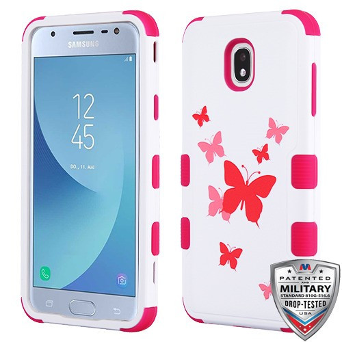 MyBat TUFF Hybrid Protector Cover [Military-Grade Certified] for Samsung J337 (Galaxy J3 (2018)) - Butterfly Dancing / Hot Pink