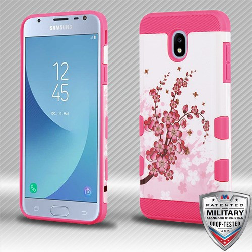 MyBat TUFF Trooper Hybrid Protector Cover [Military-Grade Certified] for Samsung J337 (Galaxy J3 (2018)) - Spring Flowers / Electric Pink
