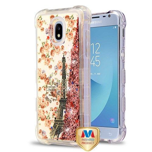MyBat TUFF Quicksand Glitter Lite Hybrid Protector Cover for Samsung J337 (Galaxy J3 (2018)) - Paris in Full Bloom / Rose Gold Flowing Sparkles