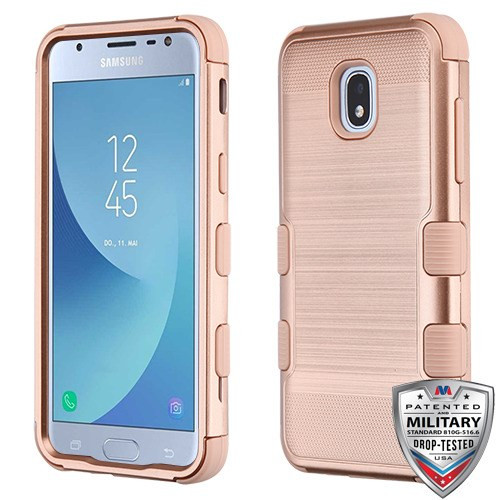 MyBat TUFF Hybrid Protector Cover [Military-Grade Certified] for Samsung J337 (Galaxy J3 (2018)) - Rose Gold Brushed / Rose Gold