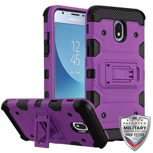MyBat Storm Tank Hybrid Protector Cover [Military-Grade Certified] for Samsung J337 (Galaxy J3 (2018)) - Purple / Black