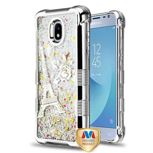 MyBat TUFF Quicksand Glitter Lite Hybrid Protector Cover for Samsung J337 (Galaxy J3 (2018)) - Silver Electroplating / Eiffel Tower / Silver Flowing Sparkles