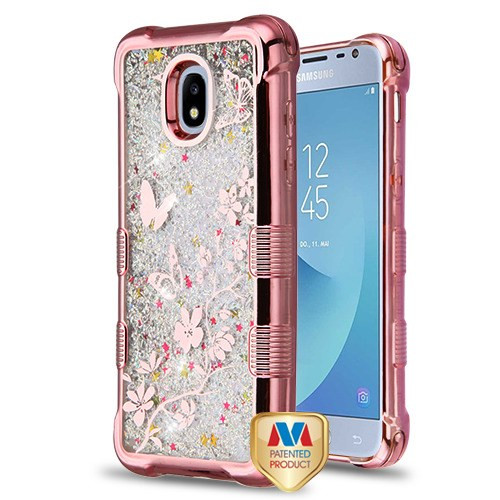 MyBat TUFF Quicksand Glitter Lite Hybrid Protector Cover for Samsung J337 (Galaxy J3 (2018)) - Rose Gold Electroplating / Butterflies in Spring Flowers / Silver Flowing Sparkles