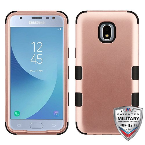 MyBat TUFF Hybrid Protector Cover [Military-Grade Certified] for Samsung J337 (Galaxy J3 (2018)) - Rose Gold / Black