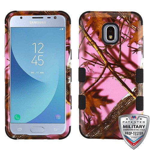 MyBat TUFF Hybrid Protector Cover [Military-Grade Certified] for Samsung J337 (Galaxy J3 (2018)) - Pink Oak-Hunting Camouflage Collection / Black