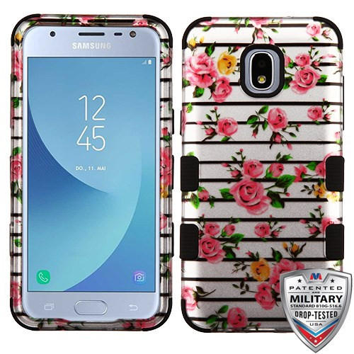 MyBat TUFF Hybrid Protector Cover [Military-Grade Certified] for Samsung J337 (Galaxy J3 (2018)) - Pink Fresh Roses (2D Silver) / Black